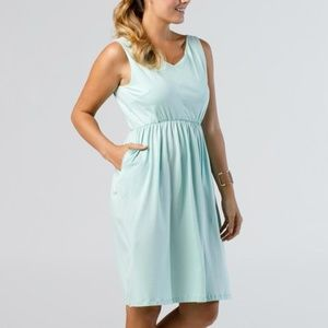 Cinch Waist A Line Dress Turquoise WITH POCKETS